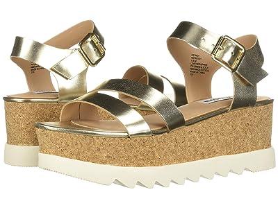 Steve Madden Keykey Wedge Heel (Gold Leather) Women