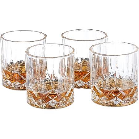 Relaxdays Set de 4 vasos de whisky, 200 ml, Cristal, Diseño elegante, Transparente