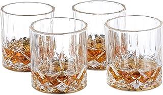 Relaxdays, transparent Whisky Gläser 4er Set, 200 ml, Gastro, edle Kristalloptik, feine Whiskybecher, f. Hausbar/Vitrine, Standard