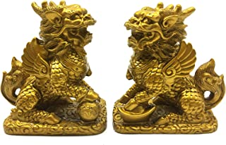 better us Chinese Feng Shui Kirin Statue Feng Shui Decor Home Office Decoration Tabletop Decor Ornaments Good Lucky Gifts (Color 1)