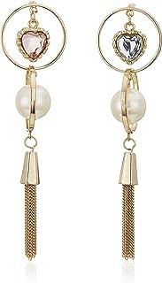 Betsey Johnson Women's Pink Heart Orbital Mismatched Drop Earrings, One Size