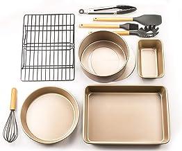 Bakeware Set Nonstick Kitchen Utensils Baking Tools with Cake Mold Pizza Pan Baking Sheet Cookie Cooling Tray Plus Wooden ...