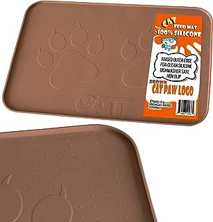 iPrimio Large Cat Feeding Mat with Paw Logo. Premium FDA Silicone (Gray - 22
