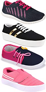 Camfoot Women's (9030-1044-5026-11028) Multicolor Casual Sports Running Shoes (Set of 4 Pair)