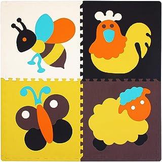 qqpp Alfombra Puzzle para Niños Bebe Infantil - Suelo de Goma EVA Suave. 4 Piezas (60*60*2cm), 8 Piezas De Borde Recto, Animales. QQP45m4S8