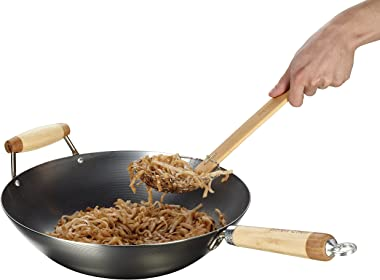 Helen's Asian Kitchen 97004 Wok, Carbon Steel and Bamboo, 14-Inches, 14 Inch, Silver