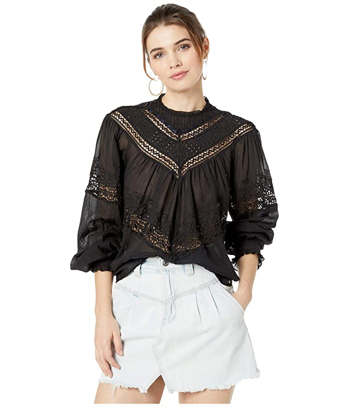 Free People  Abigail Victorian Top (Black) Womens Clothing