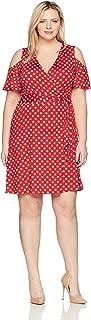 Star Vixen Women's Plus-Size Cutout Cold Shoulder Short Sleeve Faux Wrap Dress