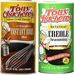Tony Chachere's No MSG Cajun Creole Cooking Bundle - 1 each of Tony's Creole Instant Roux Mix 10 Ounces and Tony's Original Creole Seasoning 17 Ounces