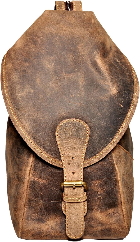 Amorucio Vintage Brown Cow Hunter Leather Shoulder Hobo Tote Back Pack Purse Bag