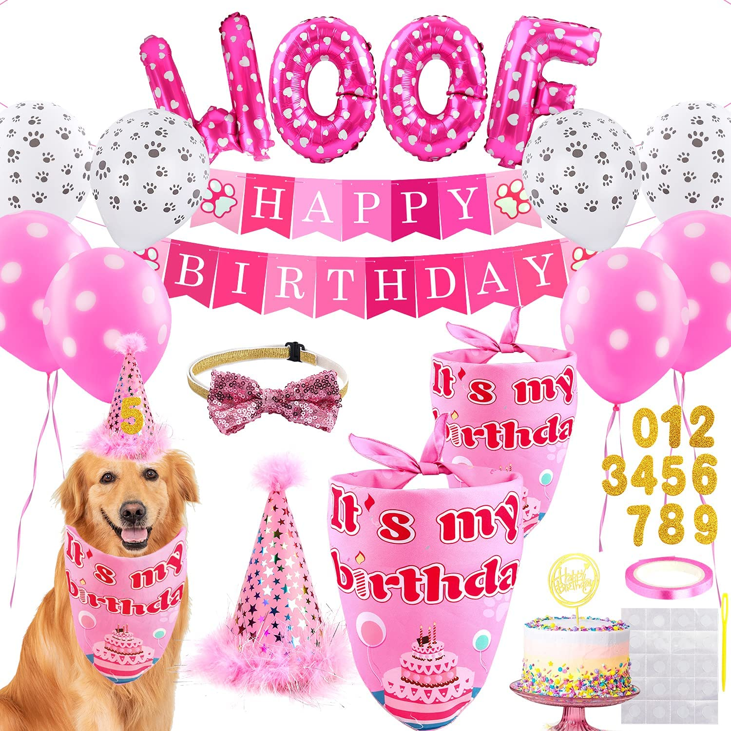 Dogs' Supplies for Birthday Blue Credence or Bandanas Pink Ballo Popularity Hats Pet
