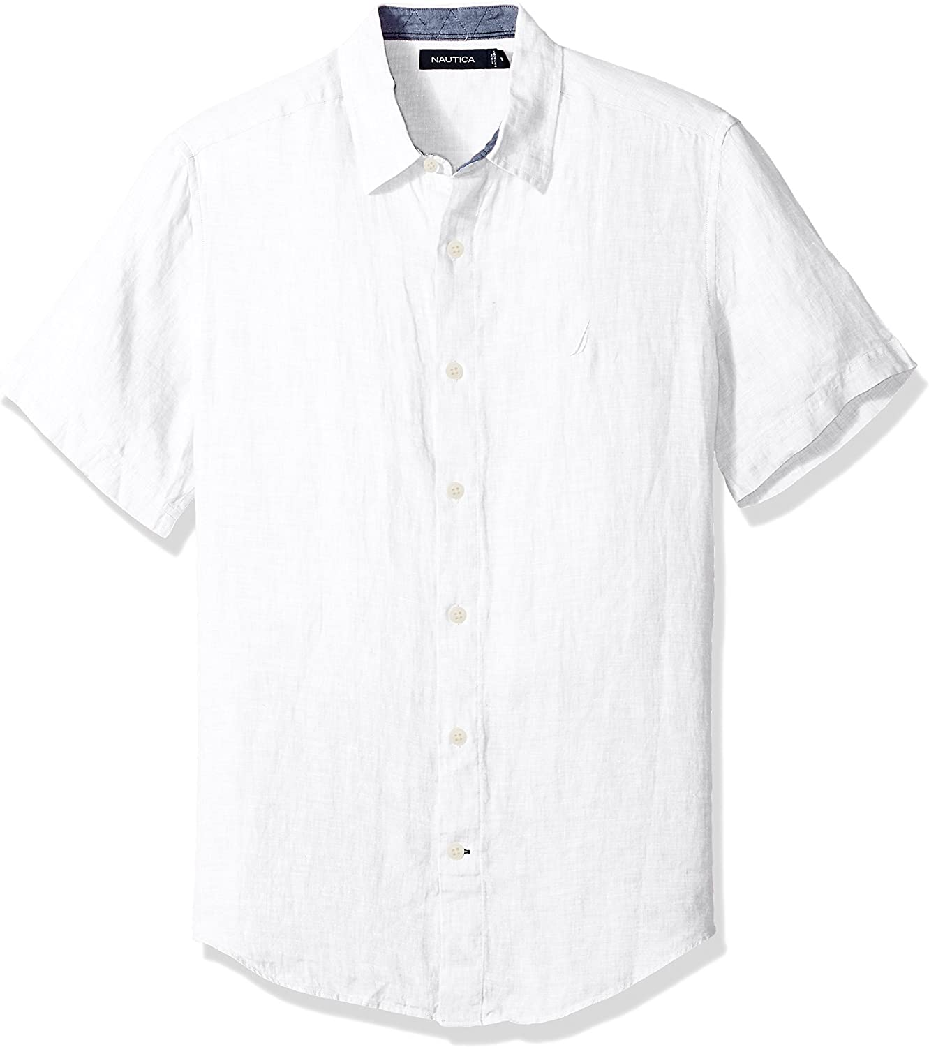 Nautica Big and Tall Short Sleeve Classic Fit Solid Linen Button Down Shirt