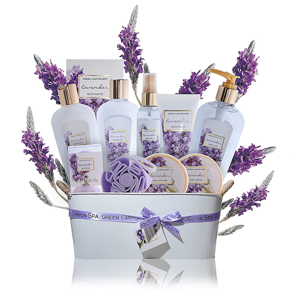 Spa Gift Baskets for Women Lavender - #1 Lush mothers day gift set in essential oils for Relaxation -11 Pcs At Home Spa Kit - Holiday Beauty Gift Ideas, bubble Bath, Body lotion scrub, bath bomb salts
