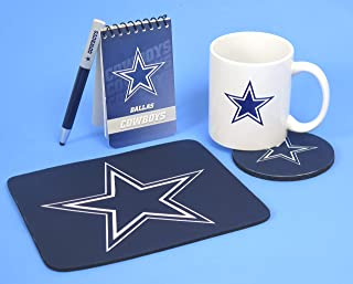 Dallas Cowboys Computer Workstation 5 Pieces Set. Includes Large 11 Ounce Coffee Mug, Compact Neoprene Mouse pad, Coaster, Mini pad and Pen,
