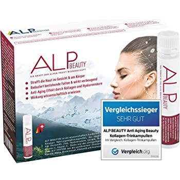 ALP BEAUTY Anti Aging Kollagen Trinkampullen 14x25 ml Hyaluronsäure Biotin Zink Vitamin C E Hyaluron Collagen Supplement - Anti Falten Hautpflege Kosmetik für Frauen