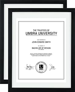 Umbra Floating Frame for Displaying Documents, Diploma, Certificate, Photo or Artwork, 11 x 14 8-1/2 x 11, Black