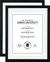 Umbra Document (2-Pack) - 11x14 Frame – Floating Frame for Displaying 8-1/2x11 or 11x14 Inch  Document, Diploma, Certificate, Photo or Artwork, Black