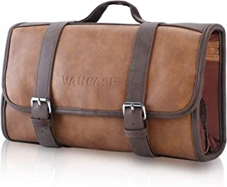 Vancase Hanging Toiletry Bag for Men Leather Dopp Kit/Bathroom Shower Bag/Travel Accessories Bag/Great Gift