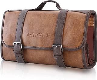Vancase Hanging Toiletry Bag for Men Leather Dopp Kit/Bathroom Shower Bag/Travel Accessories Bag/Great Gift