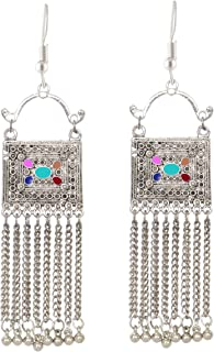 Sansar India Oxidized Square Tassels Afghani Indian Earrings Jewelry For Girls and Women