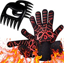 Digital Time BBQ Gloves & Meat Claws Heat Resistant Grill Gloves, 1472℉ Extreme Heat Ultra-Long Wrist Grill Gloves, Non-Sl...