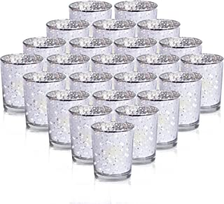 24-Pack Mercury Votive Candle Holders Bulk, Speckled Silver Mercury Candle Holders Perfect Decor for Home, Wedding, Prom, Party - 2.67
