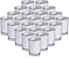 24-Pack Mercury Votive Candle Holders Bulk, Speckled Silver Mercury Candle Holders Perfect Decor for Home, Wedding,Thanksgiving Prom, Party - 2.67