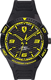 Ferrari Men's APEX Quartz Watch with Silicone Strap, Black, 20 (Model: 0830663)