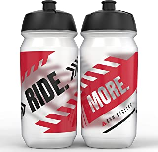 KOM Cycling Water Bottle Collection 500ml (16.9oz) Cycling Water Bottle Inspiration (2 Bottles, Ride. More.)