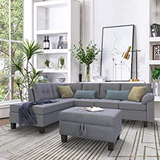P PURLOVE Sectional Sofa Set with Chaise Lounge and Storage Ottoman Nail Head Detail (Grey)