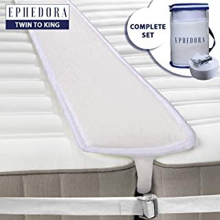 EPHEDORA Bed Bridge Twin to King Converter Kit - Mattress Extender Set to Fill in Gap - Memory Foam Filler Pad and Connector Strap - for Guest and Family Room