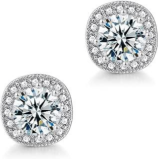 CZ Stud Earrings for Women – 18K Rose Gold Plated Cubic Zirconia Earrings