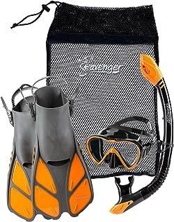 Seavenger بزرگسالان و Junior Diving Snorkel Set- خشك اسنوركل بالا / Trek Fin / تک لن ماسك / دنده كیسه- آبی / قرمز / زرد / سیاه / bs