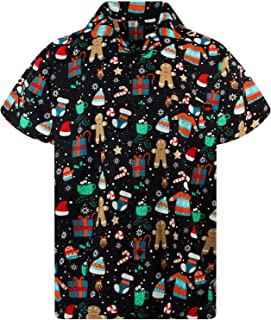 Funky Hawaiian Shirt for Men Short Sleeve Front-Pocket Christmas Hats Santa Multiple Colors