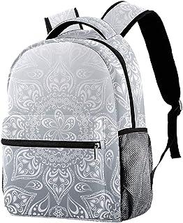 حقيبة ظهر خفيفة الوزن حقيبة مدرسية للكلية حقيبة كمبيوتر محمول Daypack للبالغين والأطفال حقيبة ظهر عادية بنمط فني رمادي