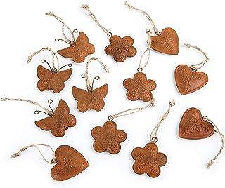 Logbuch-Verlag Lot de 12 petits pendentifs rouillés - Décoration de Pâques - Cœur - Fleur et papillon - 4 cm - Avec cordon...