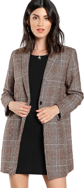 SheIn excellence Women's Genuine Lapel Collar Coat Outerwe Plaid Long Sleeve Blazer