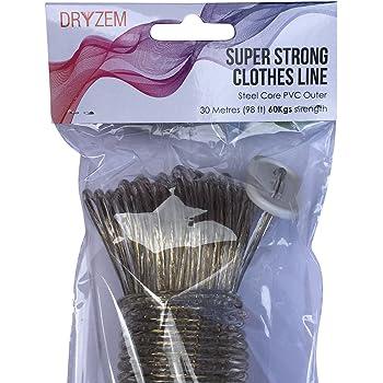 Cuerda para tender la ropa fuerte larga duración núcleo de acero línea de ropa 30 m aprox 100 FT: Amazon.es: Hogar