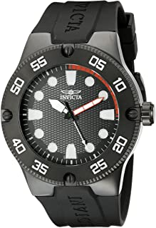 Invicta Men's Pro Diver 52mm Stainless Steel Quartz Watch with Black Silicone Band, Black (Model: 18026)