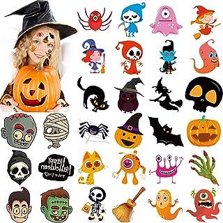 Konsait 30 Designs Halloween Tattoos for Kids, Halloween Trick or Treat Ghost Monster Skeletons Pumpkin Temporary Tattoo, ...