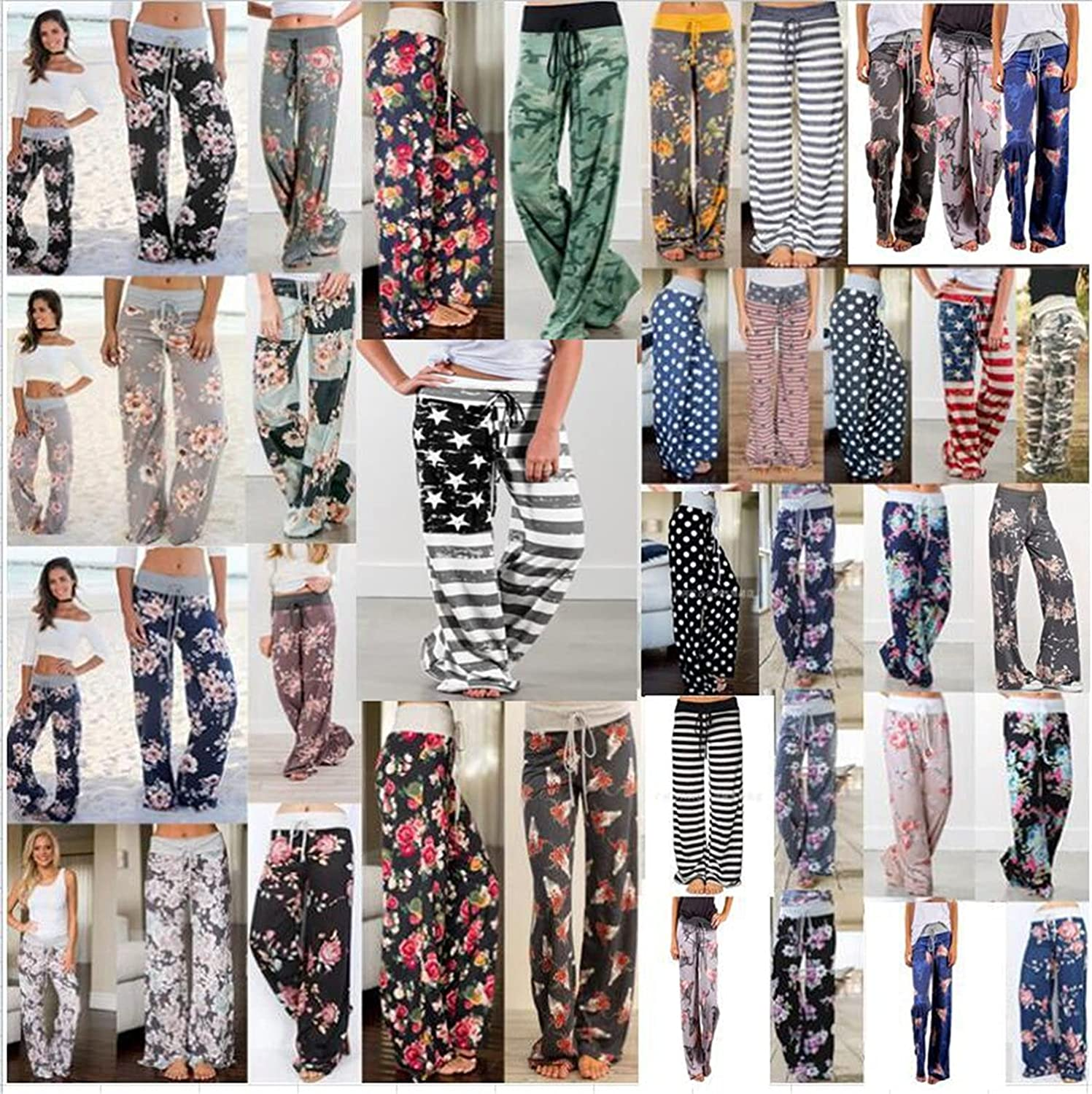 Women's Printed Wide-Leg Pants Comfy Stretch Floral Print Drawstring Lounge Trousers Casual Stretchy Casualpants (Large,Black 7)