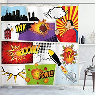 Ambesonne Superhero Shower Curtain by, Retro Comic Book Speech Bubbles Mock-Up Symbols Sound Effects Anger Brave Graphic, Fabric Bathroom Decor Set with Hooks, 84 Inches Extra Long, Multicolor