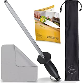 Chefast Honing Steel Knife Sharpening Set: Combo Kit of 10-Inch Sharpener Rod, Cleaning Cloth, and Luxury Carry Bag - Hone...