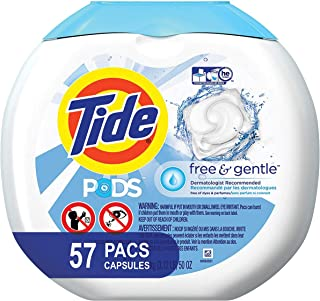 Tide Free and Gentle Laundry Detergent Pods, 57 Count, Unscented and Hypoallergenic for Sensitive Skin