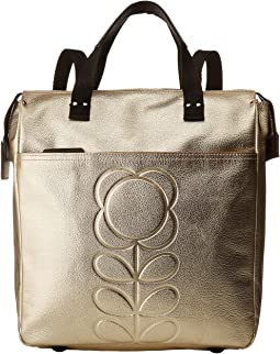 Orla Kiely Embossed Flower Stem Leather Backpack