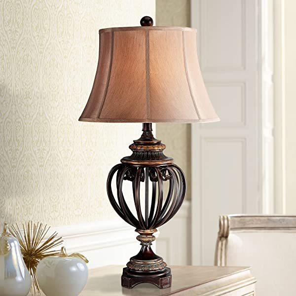 Traditional Table Lamp Iron And Bronze Open Urn Tan Cut Corner Square Shade For Living Room Family Bedroom Bedside Barnes And Ivy
