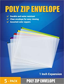 Poly Zipper Envelopes with Expanding Space for Home School and Office Organization, 5 Assorted Color Zipper