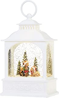 RAZ Imports Deer Scene Lighted Water Lantern 8 Inch Lighted Christmas Snow Globe with Swirling Glitter Battery Operated and USB Powered