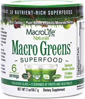 Macro Greens Superfood - 18 Billion Non-Dairy Probiotic Cultures - Raw Green Superfood With Concentrated Polyphenols - Cer...