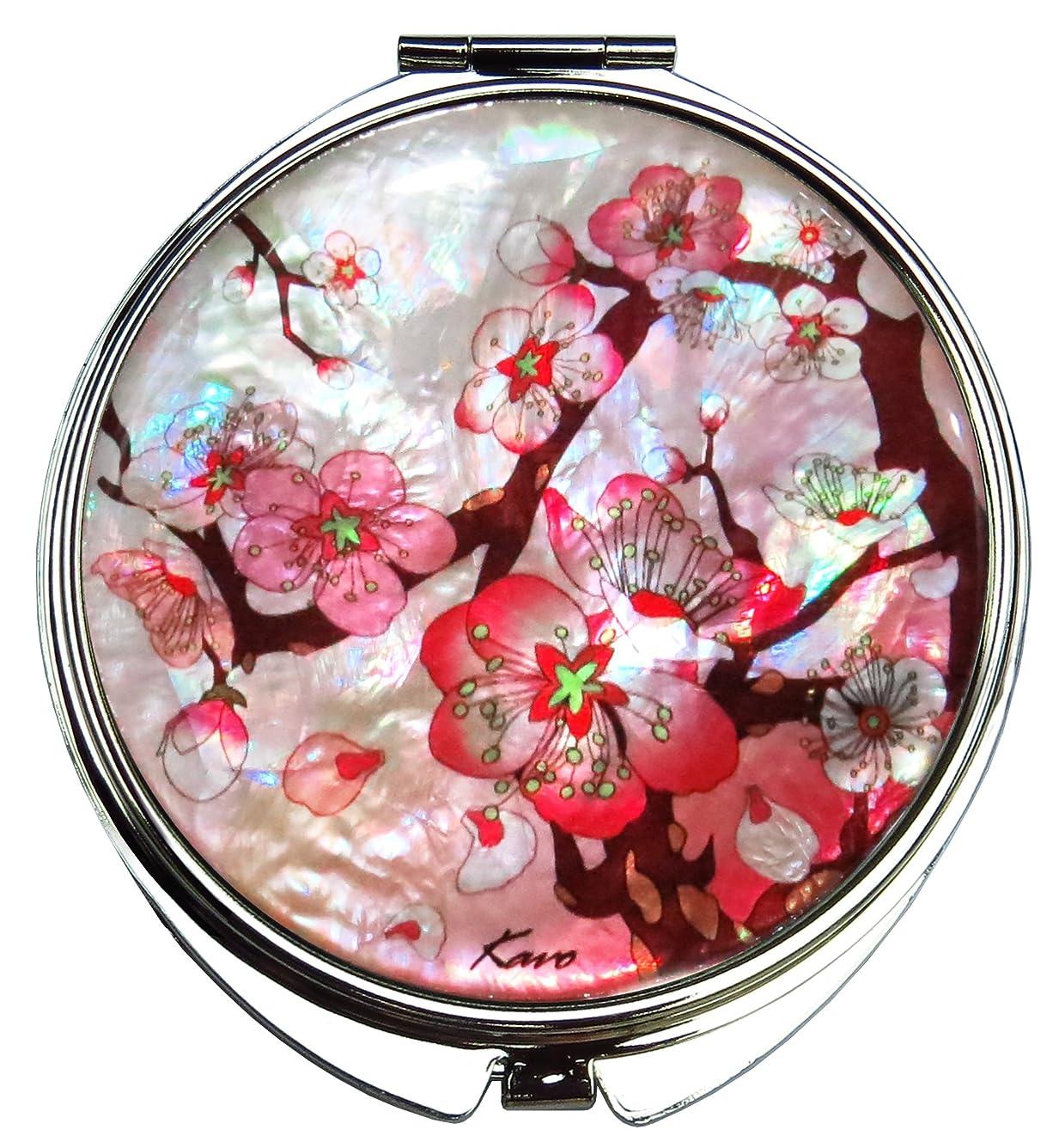 踏み台バリア請求桜(さくら) の螺鈿(らでん)の金属デュアルコンパクトな折りたたみと拡大の化粧鏡 白灰色 [並行輸入品]
